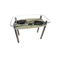 """Стол обеденный стеклянный с хромированным ножками """"Камелия""""  Sentenzo"""
