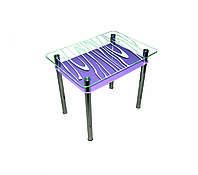 """Стол обеденный стеклянный с хромированным ножками """"Бриз"""" 1100*650*750"""