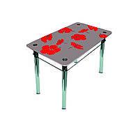 """Стол обеденный стеклянный с хромированным ножками """"Лилия"""" 1100*650*750"""