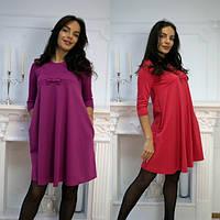 Свободное женское платье с бантиком