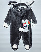 Комбинезон махровый для новорожденных Кролик серый