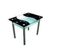 """Стол обеденный стеклянный с хромированным ножками """"Контраст"""" 900*650*750"""