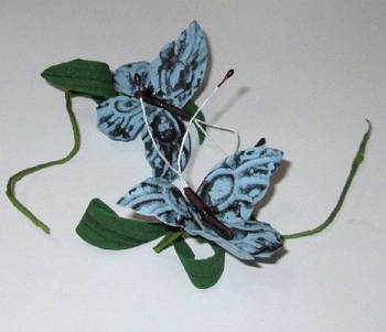 Бабочка на веточке 7/4 см, голубая
