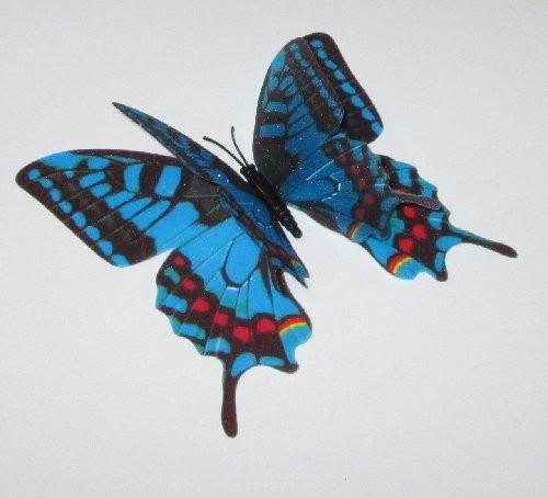 Бабочка 3 D 12/9,5 см синяя