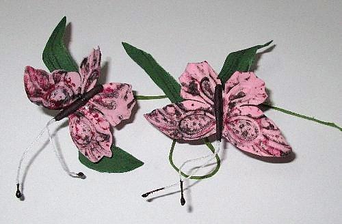 Бабочка на веточке 7/4 см, розовая
