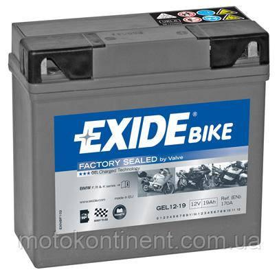 Акумулятор для мотоцикла гелевий EXIDE GEL 12-19 19Ah 185x80x170