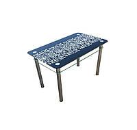 """Стол обеденный стеклянный с хромированным ножками """"Орнамент"""", 1100*650*750"""