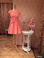 Платье расклешенное с бантом на поясе