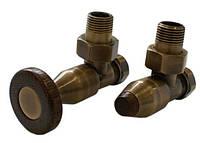 Комплекты клапанов PRESTIGE угловой античная латунь термостатическая головка с цилиндрической деревянной рукоя