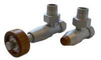 Комплекты клапанов PRESTIGE угловой сталь термостатическая головка с цилиндрической деревянной рукояткой