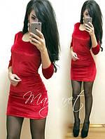 Платье велюровое приталенное