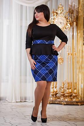 Д794/1  Платье с баской размеры 50-56 Клетка синий, фото 2