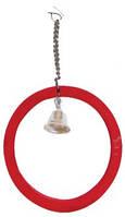 ЛОРИ Игрушка для птиц кольцо со звоночком, дерево