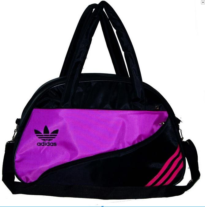 Спортивная сумка для фитнеса Adidas, Адидас черная с сиреневым