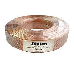 Акустический кабель Dialan медь 2*0,75мм прозрачный ПВХ 1м