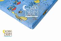 Матрас для детской кроватки КПГ (кокос-поролон-гречка) голубой 7см