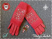 Женские зимние перчатки с камешками