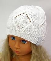 Листочки (белый) белая вязаная шапка для девочки