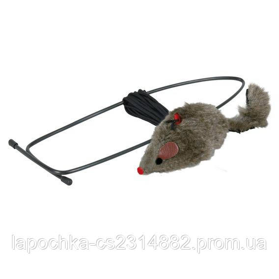 Игрушка для кошек Trixie Мышка с креплением на дверной проём 8 см/190 см, плюш