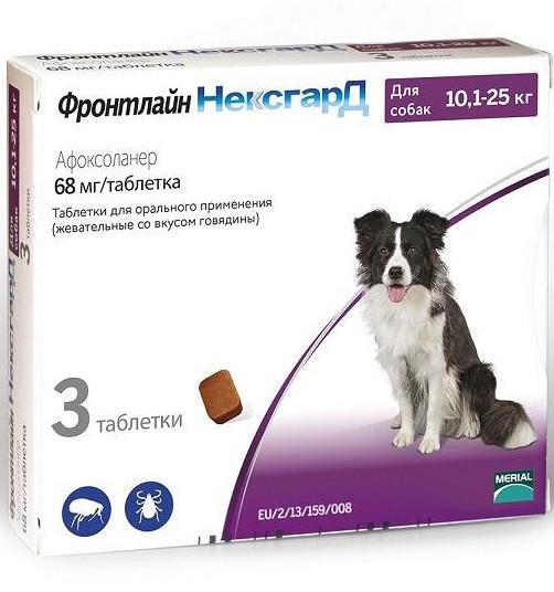 Таблетки жевательные Фронтлайн НексгарД от блох и клещей для собак 10-25кг цена за 1 таблетку