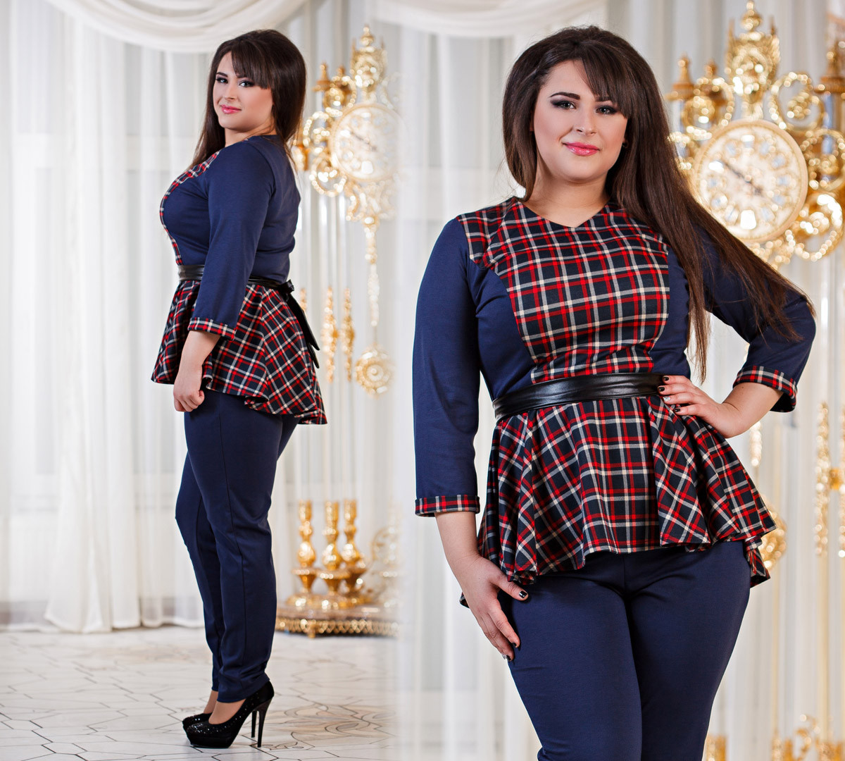 Д1040 10 Женский костюм баска + брюки размеры 50-56