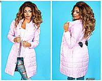 Пальто женское  из плащёвки украшено бантиком