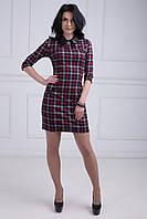 Стильное молодежное платье в клетку рубашечный воротник из эко-кожи