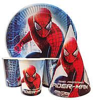 """Набор для дня рождения """" Человек паук """". Тарелки  -10 шт. Стаканчики - 10 шт. Колпачки - 10 шт."""