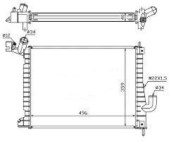 Радиатор охлаждения Opel Vectra B 1997-2003 (2.0 16V TDI механика) 496*359мм по сотах KEMP