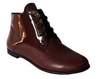 Женские ботинки бордового цвета на низком ходу, натуральная кожа