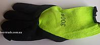 Перчатки стрейч с латексным покрытием  салатневые с черным