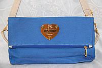 Джинсовый брендовый стильный клатч синий