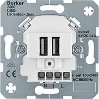 USB-розетка двойная для подзарядки, полярная белизна. Berker 260009