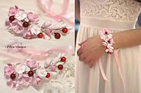 """""""Веточка вишни"""" авторский браслет с цветами ручной работы из полимерной глины"""