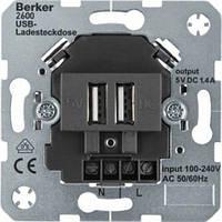 USB-розетка двойная для подзарядки, антрацит. Berker 260005