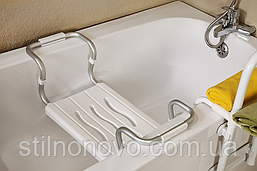 Сиденье на ванную раздвижное белое с нагрузкой до 150 кг
