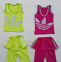Летний костюм Adidas для девочки от 1 года до 4 лет ТОЛЬКО ЛИМОННЫЙ