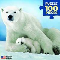 Красочные пазлы 'Белая медведица с медвежонком, 100 элементов