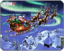 Пазлы Larsen Дед Мороз и северное сияние серия Мини Z5