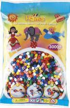 Бусины для термомозаики в пакете, 10 цветов 3000шт. ( Hama 201-00 )