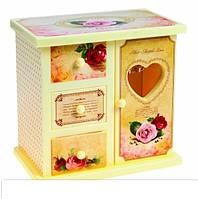 Шкатулка музыкальная шкафчик с розами, фото 1