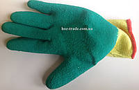 Перчатка ХБ  пена желто-зеленая, фото 1