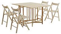 Комплект кухонный раскладной стол + 4 стула бук