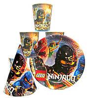 "Набор ""Ninjago"". Тарелки (18см) -10шт. Стаканчики (250мл) -10шт. Колпачки (16см) -10шт."