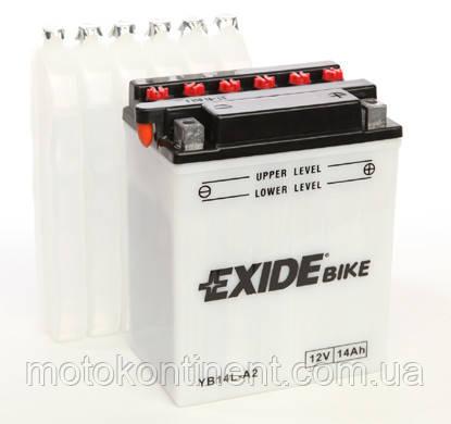 Акумулятор для мотоцикла сухозаряженный EXIDE EB14L-A2=YB14L-A2 14AH 134X89X166, фото 2