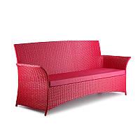 Красный плетеный диван из ротанга Patio