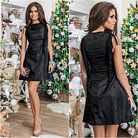 Платье женское короткое из ткани тафта с кисточками P1447