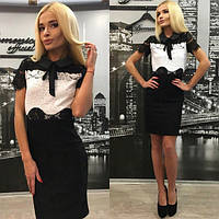 Красиво черно-белое платье с тремя видами кружев