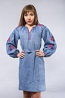 Женское синее платье с вышивкой, фото 1