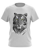 Футболка мужская белая с изображением тигра
